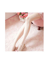 Lovely White Lace Pattern Decorated Dot Silk Stockings