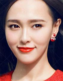 Elegant Red Pearls&diamond Decorated Simple Earrings