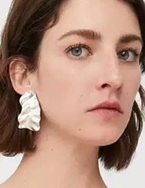 Fashion Silver Color Irregular Shape Design Pure Color Earrings