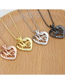 Collar Con Colgante Hueco De Diamantes Con Letras En Forma De Corazón