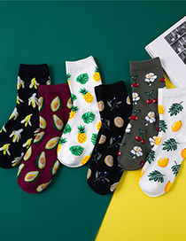 Calcetines De Algodón Con Piña Y Aguacate De Frutas Tropicales