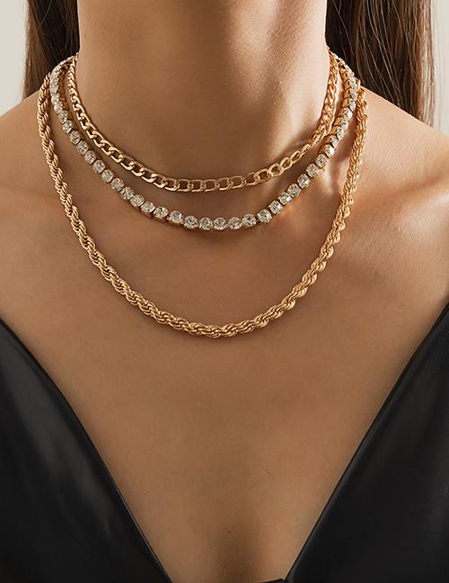 Collar De Diamantes Huecos Con Cadena Giratoria Multicapa