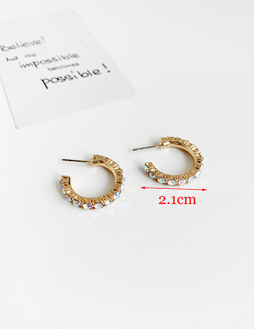 Fashion Color Alloy Diamond Round Earrings