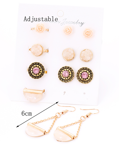 Fashion Gold Color Round Shape Decorated Earrings&rings Set (12 Pcs )