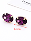 Fashion Plum Red Oval Shape Decorated Earrings