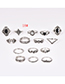 Fashion Silver Color Flower Shape Decorated Ring (15 Pcs )