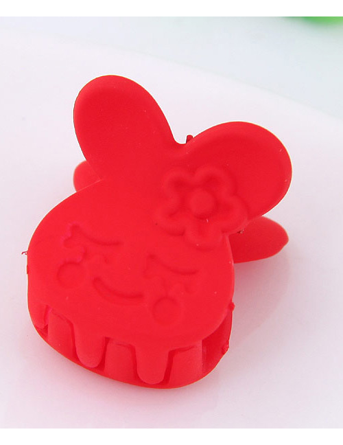 Lovely Red Little Bear Decorated Pure Color Hair Claw