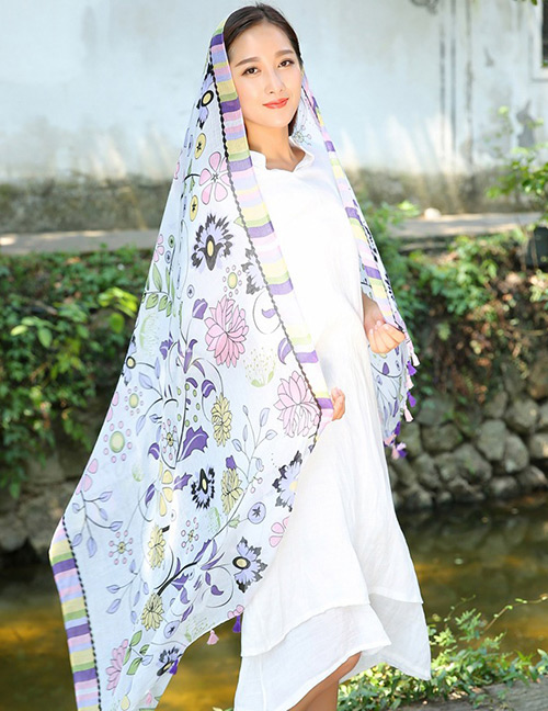 Fashion Purple+blue Flower Pattern Decorated Scarf