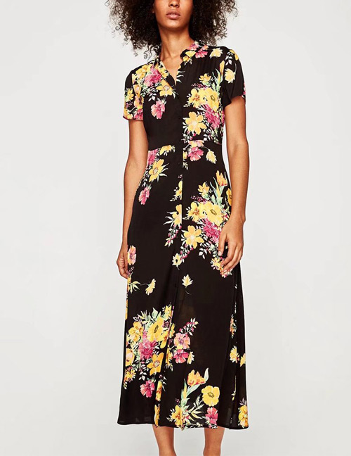 Trendy Multi-color Flower Decorated Short Sleeves Long Dress