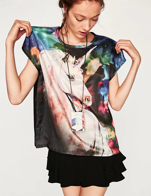 Trendy Multi-color Horse Pattern Decorated Short Sleeves T-shirt