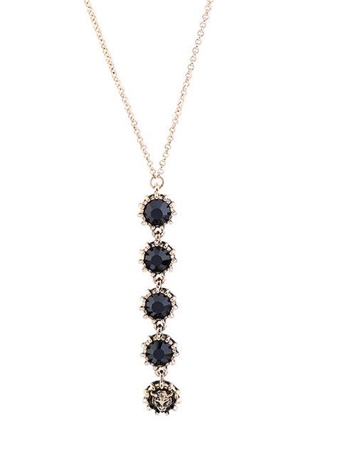 Elegant Black Tiger Head&diamond Decorated Necklace