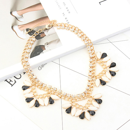 Fashion Black+white Oval Shape Diamond Decorated Double Layer Necklace