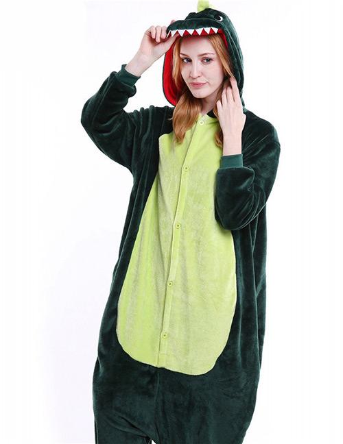 Trendy Green Dinosaur Shape Decorated Siamese Pajamas