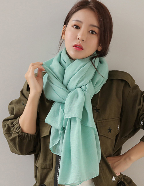 Fashion Green Pure Color Decorated Dual-use Scarf