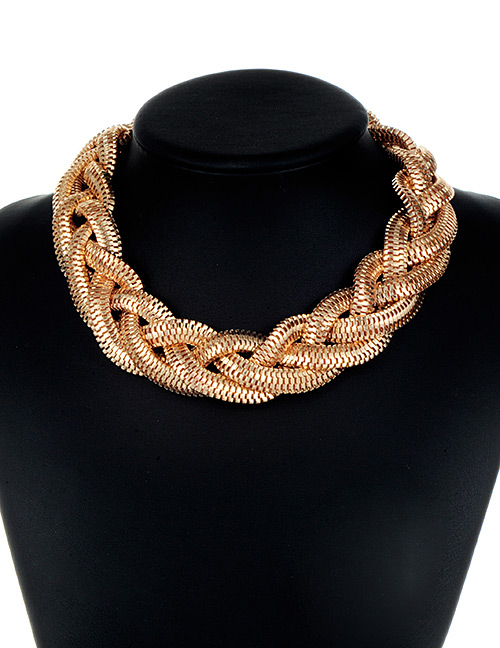 Fashion Gold Color Chains Decorated Pure Color Necklace