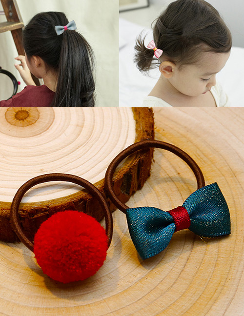 Lovely Red+dark Green Bowknot&fuzzy Ball Decorated Hair Band(2pcs)