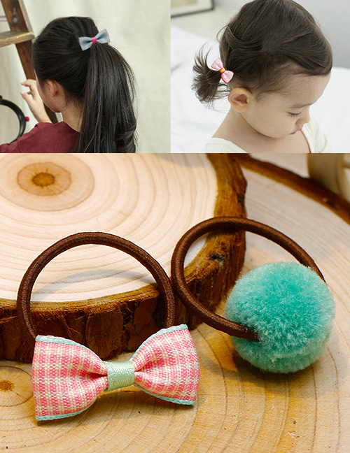 Lovely Green+pink Bowknot&fuzzy Ball Decorated Hair Band(2pcs)