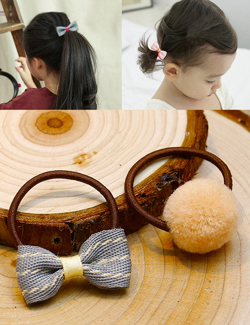 Lovely Khaki+yellow Bowknot&fuzzy Ball Decorated Hair Band(2pcs)