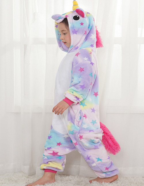 Lovely Light Purple Star Shape Decorated Unicorn Children Pajamas