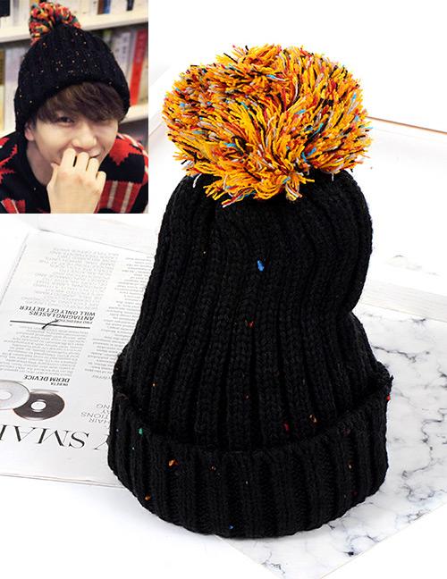 Trendy Black Fuzzy Ball Decorated Knitting Cap