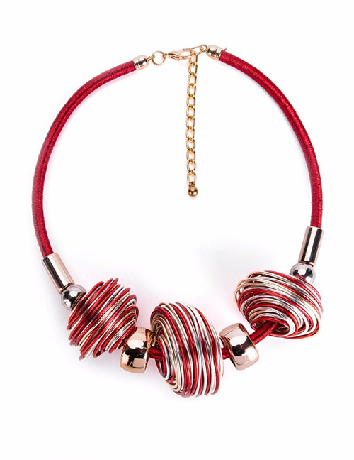 Exaggerated Red Color-matching Decorated Necklace