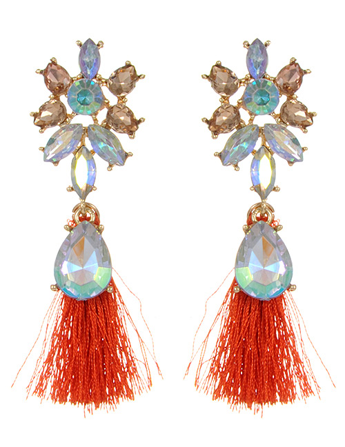 Fashion Orange Waterdrop Shape Diamond Decorated Earrings
