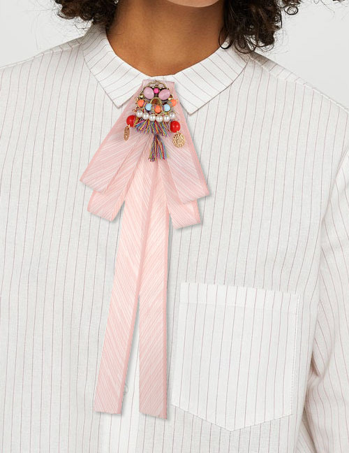 Fashion Pink Tassel&pearls Decorated Bowknot Brooch