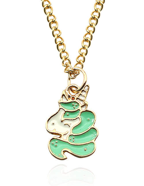 Fashion Green Unicorn Pendant Decorated Necklace