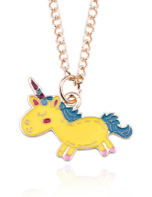 Fashion Yellow Cartoon Unicorn Pendant Decorated Necklace