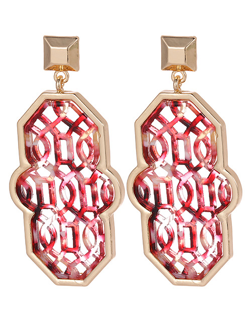 Fashion Red Geometric Shape Decorated Earrings