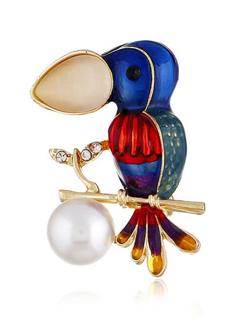 Elegant Multi-color Bird&pearls Decorated Simple Brooch