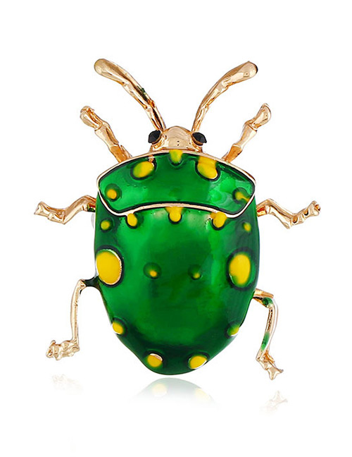 Exaggerated Green Cartoon Ladybug Decorated Simple Brooch