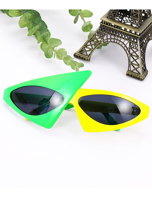 Fashion Green+yellow Triangle Shape Design Glasses