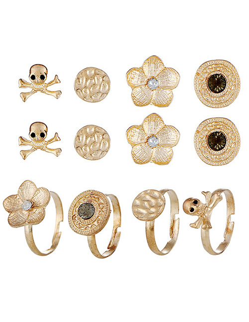 Fashion Gold Color Skull&flower Decorated Earrings (12pcs)