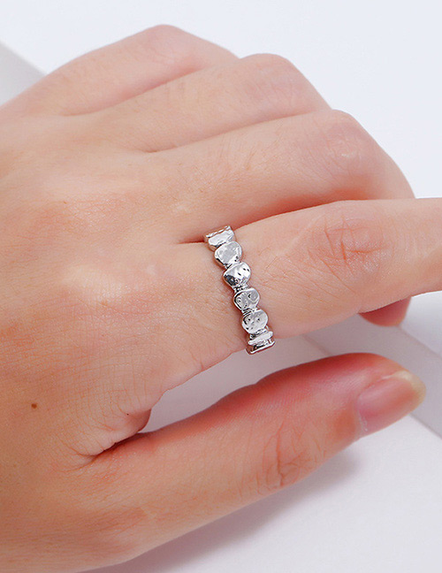 Fashion Silver Color Wave Shape Design Pure Color Ring