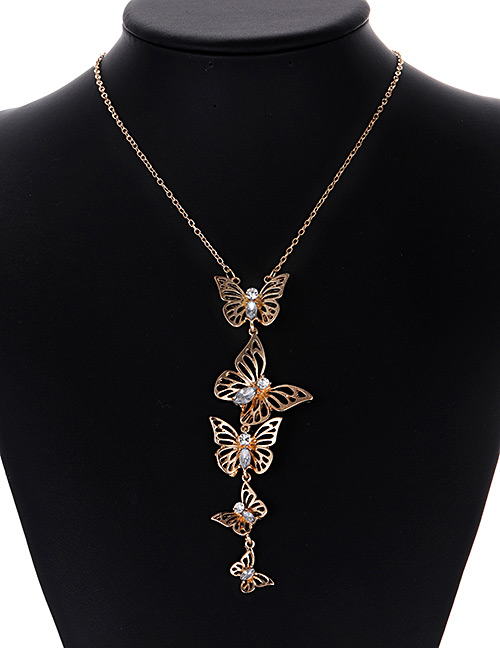 Fashion Gold Color Butterfly Decorated Pure Color Necklace