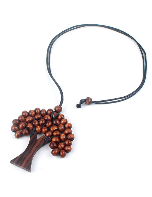 Fashion Brown Tree Shape Decorated Necklace
