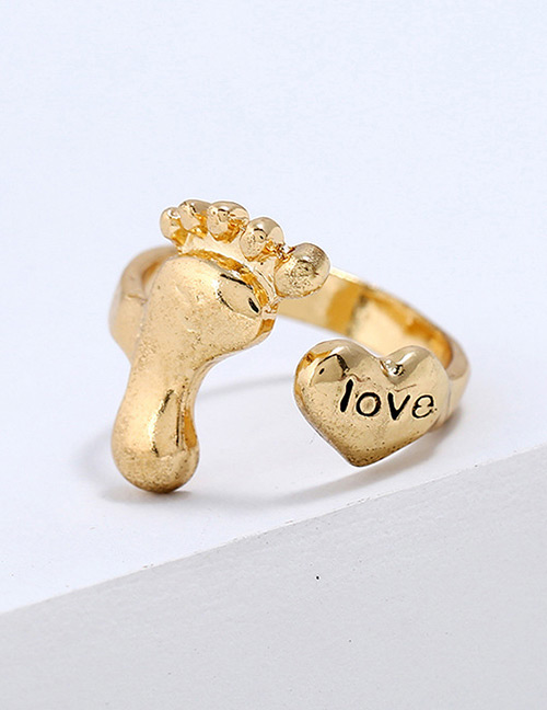 Fashion Gold Color Heart Shape Decorated Pure Color Ring