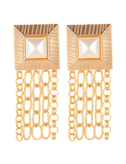 Elegant Gold Color Chains Decorated Tassel Earrings