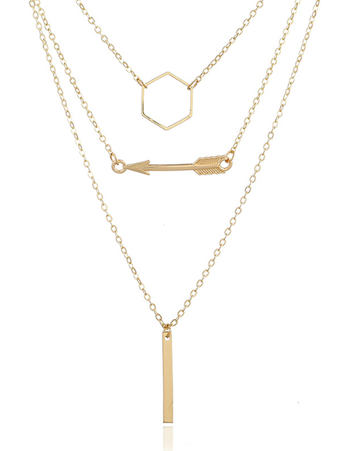 Fashion Gold Color Arrow Decorated Multi-layer Necklace