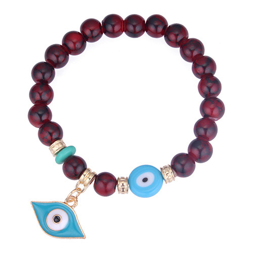 Personality Red Eye Shape Pendant Decorated Beads Bracelet