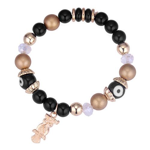 Vintage Black Owl Pendant Decorated Beads Bracelet