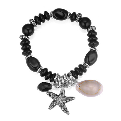 Vintage Black Starfish Pendant Decorated Beads Bracelet