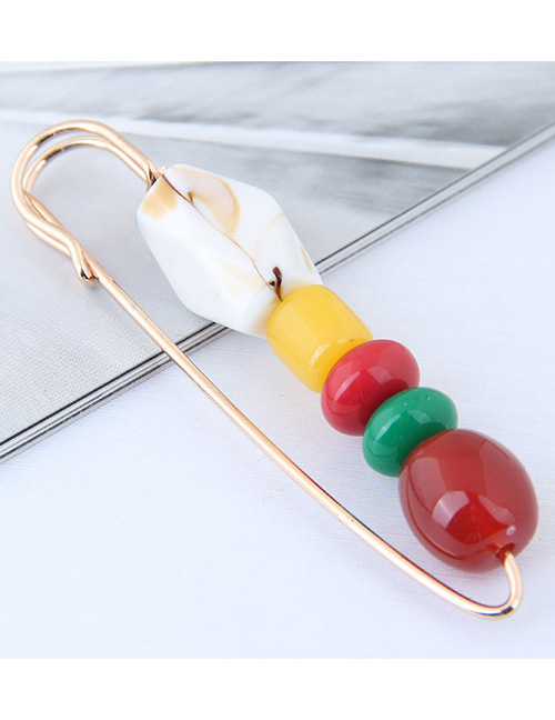 Fashion Red+white Round Shape Design Color Matching Brooch
