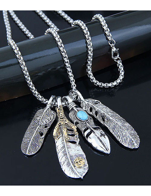 Fashion Silver Metal Angel Wing Feather Long Necklace