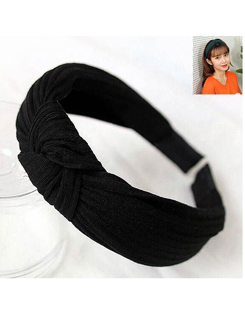 Fashion Black Knitted Cross Knotted Headband