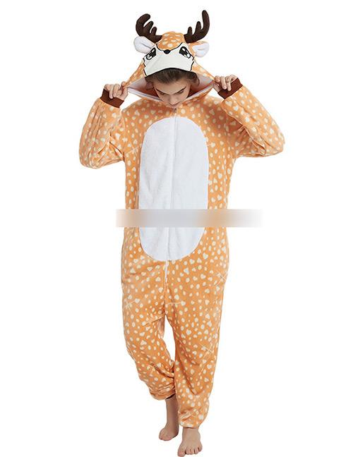 Fashion Light Orange Deer Shape Deocrated Jumpsuit(for Child)