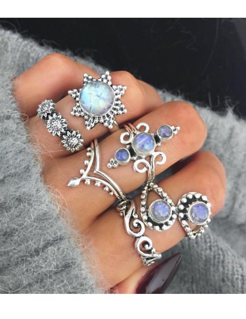 Fashion Silver Color Geometric Shape Decorated Rings(6pcs)