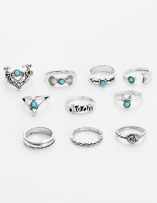 Fashion Silver Color Letter Pattern Decorated Ring(11pcs)