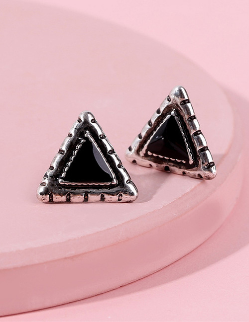 Fashion Black+silver Color Triangle Shape Decorated Earrings